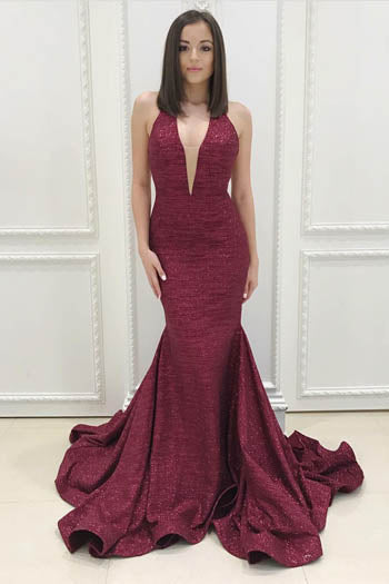 Alluring Plunging V Neckline Open Back Mermaid Evening Prom Dress With Dreamy Train