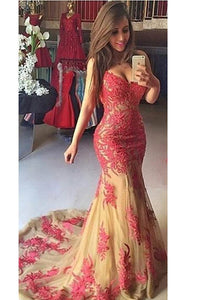 Alluring Red Sleeveless Deep V Neck Mermaid Evening Dress with Appliques
