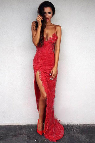 Alluring Red Spaghetti Straps Plunging V Neck Lace Evening Dress with High Side Slit