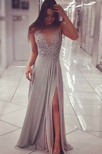 Alluring Silver Beaded Sleeveless Deep V Neck A-line Evening Dress with Side Slit