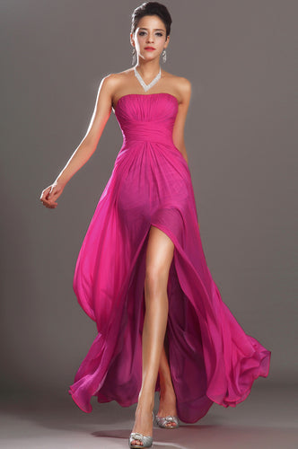 Amazing Hot Pink Floor-Length Chiffon Dress With Bold Front Slit