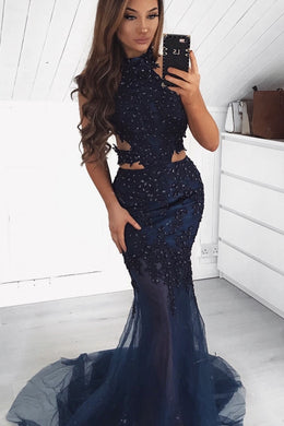Dark Navy Applique Beading Illusion High Neck Sleeveless Long Stretch Mermaid Prom Dress