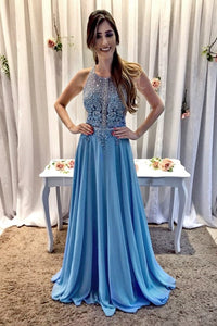 Applique Beading Rhinestone Sequin Scoop Neck Sleeveless Open Back Long Prom Dress