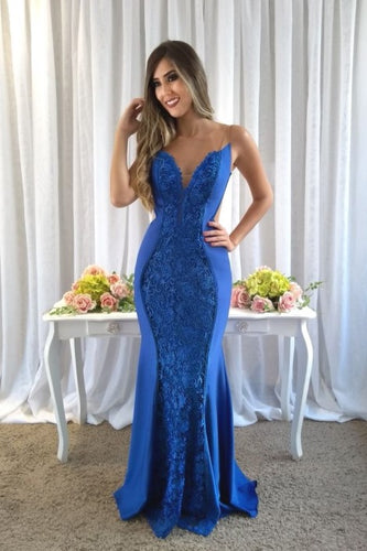 Chic Applique Lace Illusion Straps Sleeveless Backless Long Fit-And-Flare Prom Dress
