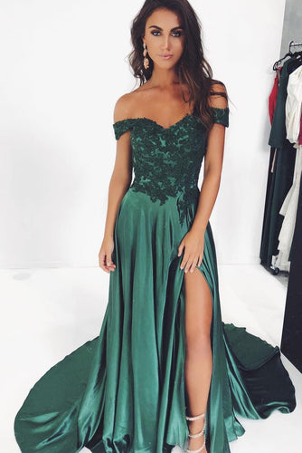 Sexy Applique Off Shoulder Zipper-Up Long Slit Prom Dress with Sweep Train