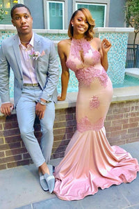 Appliqued High Neck Satin Mermaid Prom Dress With Keyhole