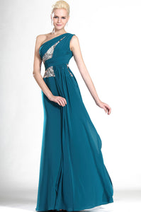 Asymmetrical Single-Shoulder Sequined Column Chiffon Long Dress