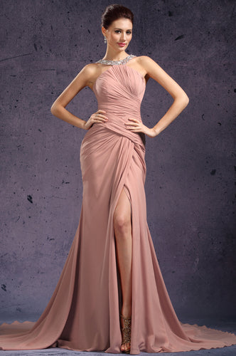 Awesome Blush Halter Necklace Ruched Dress With A Side Slit