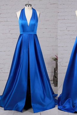 Backless Halter Deep V-Neck A-Line Sweep Train Prom Dress With Slit