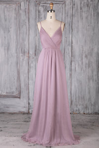 Backless Spaghetti Strap V-Neck Sweep Train Tulle Bridesmaid Dress With Bowknot