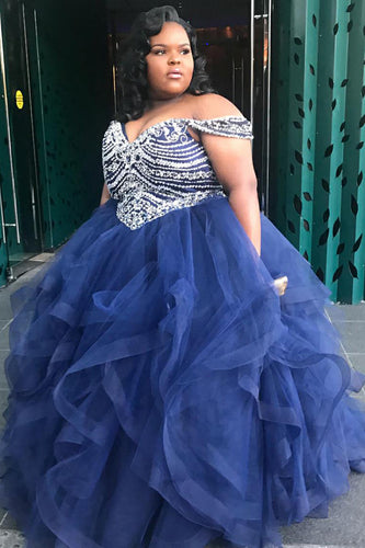 Ball Gown Off-The-Shoulder Organza Plus Size Prom Dress With Sequins