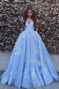 Ball Gown Off-The-Shoulder Organza Prom Dress With Applique