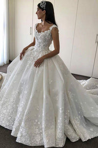 Ball Gown Scoop Neck Cathedral Train Wedding Dress With Applique
