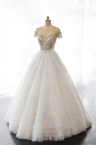 Ball Gown Sheer Neck Cap Sleeve Tiered Ruffle Tulle Bridal Dress With Beads
