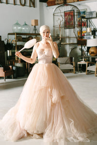 Ball Gown Sweetheart Cap Sleeve Pearl Pink Tulle Court Train Wedding Dress