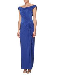 Bateau Off-The-Shoulder Ruched Column Cowl-Back Bridesmaid Dress