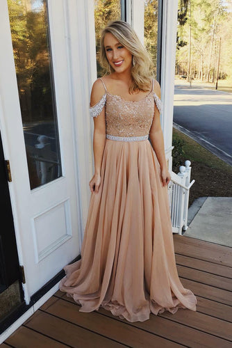 Beaded Champagne Chiffon Floor-Length Cold-Shoulder Long Dress