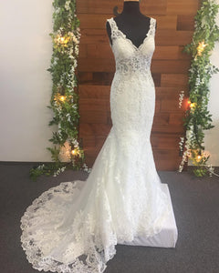 Beaded Open Back V-Neck Lace Mermaid Wedding Dress