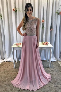 Beaded Rhinestone Illusion Scoop Neck Sleeveless Zipper-Up Long Chiffon Prom Dress