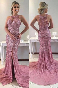 Beading Rhinestone Key-Hole Jewel Neck Sleeveless Zipper-Up Long Fit-And-Flare Prom Dress