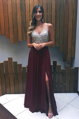 Beaded Rhinestone Illusion Plunge Neck Sleeveless Backless Floor-Length Prom Dress