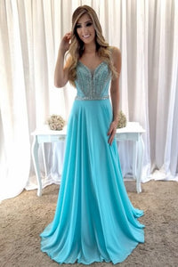 Beading Rhinestone Plunge Neck Sleeveless Open Back Long Solid Chiffon Prom Dress