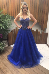 Luxury Beading Rhinestone Sweetheart Sleeveless Lace-Up Long Solid A-Line Prom Dress