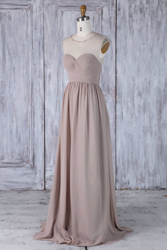 Beaded Sheer Neck Sweep Train Chiffon Bridesmaid Dress With Ruched Bodice