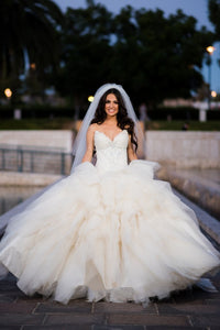 Beaded Strapless Sweetheart Ball Gown Wedding Dress With Lace Bodice