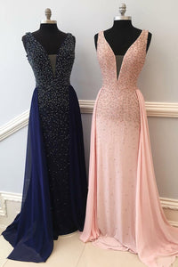 Beaded V-Neck Floor-Length V-Neck Dress With A Flowing Chiffon Over-Skirt