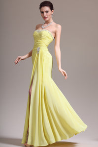 Beaded Yellow Straight Neckline Chiffon Long Dress With Side Slit