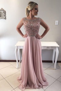 Beading Rhinestone Scoop Neck Cap Sleeves Zipper-Up Long Solid Chiffon Prom Dress