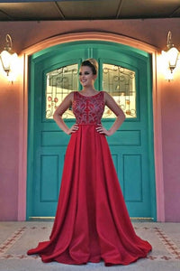 Beading Scoop Neck Sleeveless Open Back Long Solid Satin Prom Dress with Sweep Train