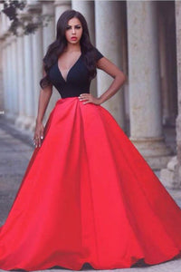 Black and Red Cap Sleeves Deep V Neck A-line Evening Prom Gown