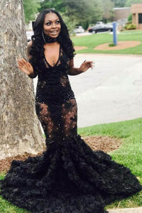 Black Beaded Plunging V Neck Mermaid Evening Dress with Sweep Train