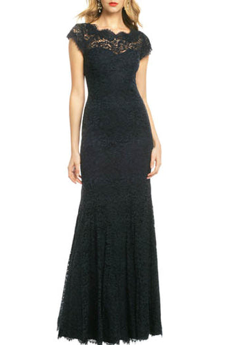 Black Cap Sleeve Jewel Neck Open Back A-Line Floor-Length Bridesmaid Dress