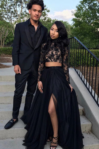 Black High Neck Long Sleeve Two-Piece Split Chiffon Prom Dress With Lace Illusion Bodice