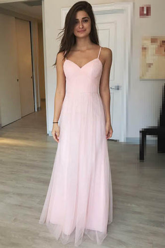 Pink Spaghetti Strap Deep V Neckline Criss Cross Back Floor Length Bridesmaid Dress