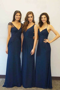 Black Lace Cap Sleeve Deep V Neckline Open Back Floor Length Bridesmaid Dress