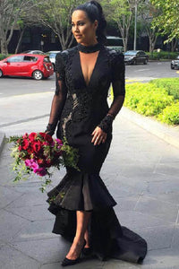 Black Long Sleeves Plunging V Neck High–low Mermaid Dress with Appliques