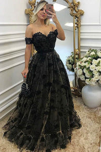Black Off-the-shoulder Sweetheart Neck A-line Evening Dress with Appliques