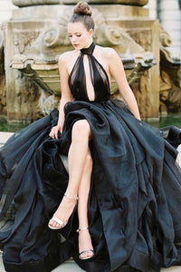 Black Organza Halter A-Line Floor-Length Prom Dress