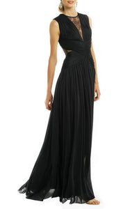 Black Pleated Deep V Neck Criss Cross Back Floor Length Bridesmaid Dress With Sheer Net