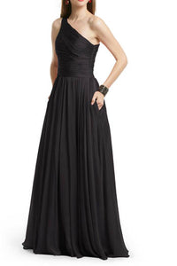 Black Pleated Single Shoulder A-Line Floor Length Bridesmaid Dress