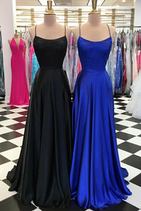 Black Royal Blue Figure-Flattering Strapped Scoop Neckline Sleek Satin Long Dress
