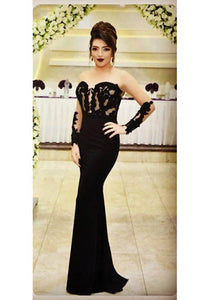 Black Sheer Bateau Neck Long Sleeves Mermaid Evening Dress with Appliques