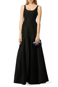 Black Sleeveless Scoop Neckline Open Back Floor-Length Bridesmaid Dress