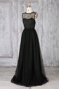 Black Tulle Jewel Neck Sweep Train Bridesmaid Dress With Lace Illusion Bodice