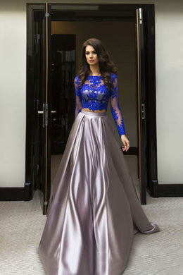 Blue And Silver Appliqued Long Sleeve Bateau Neck Floor Length Two Piece Prom Dress