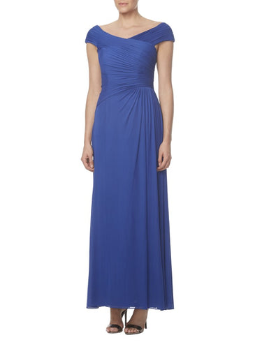 Blue Cap-Sleeved V-Neck Ruched Long Bridesmaid Dress